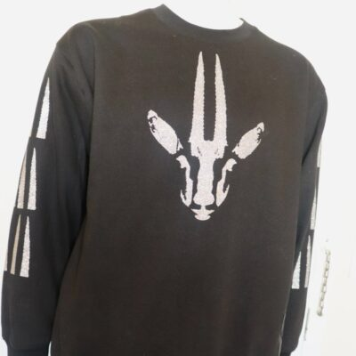 Black Sweatshirt w/White Gazelle Print