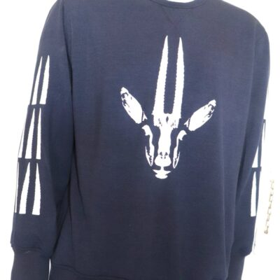 Navy Blue Gazelle Print Sweatshirt