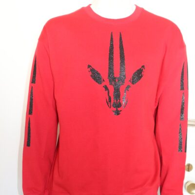 Red Sweatshirt with Black Gazelle Print